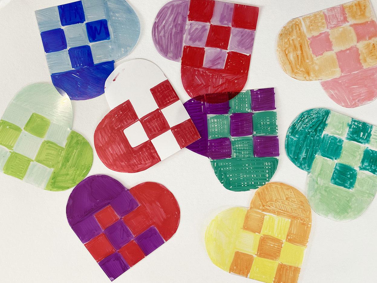 Shrink plastic Christmas hearts