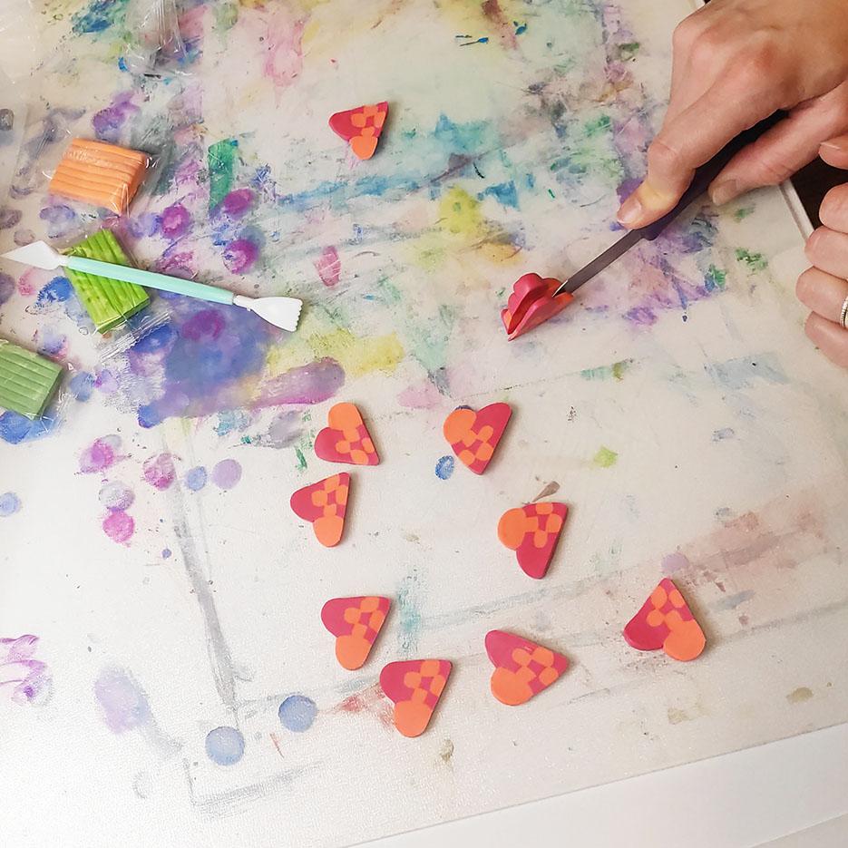 Polymer clay Christmas hearts