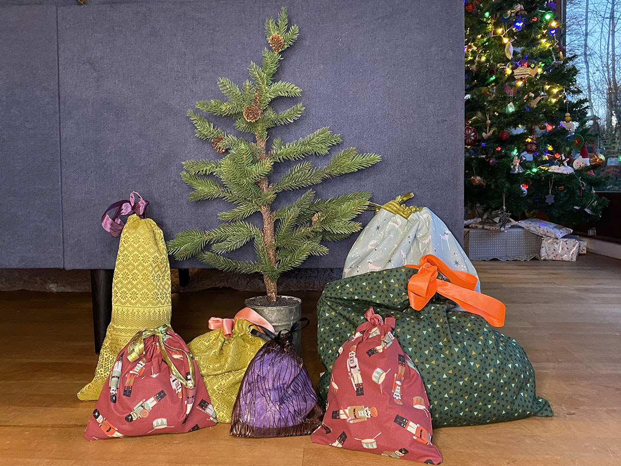 Homemade sustainable gift bags