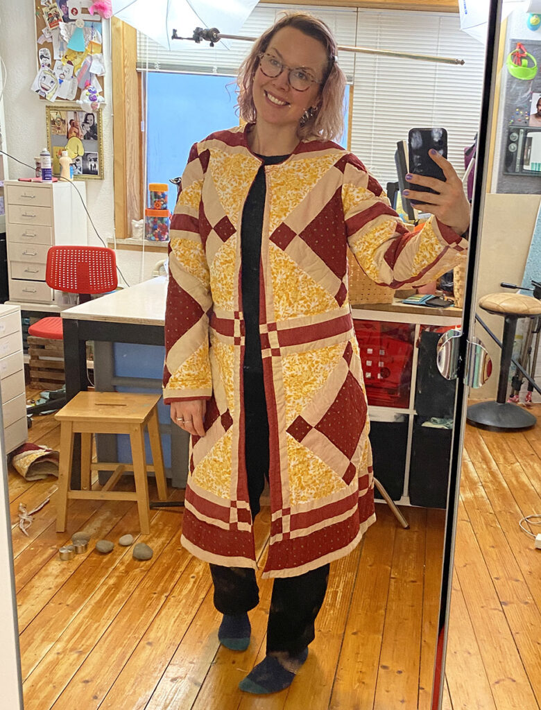 upcycled patchwork quilt coat diy
